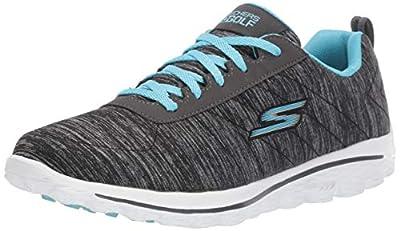 Skechers Go Golf Women's Go Walk Sport Relaxed Fit Golf Shoe, Black/Blue, 9 M US