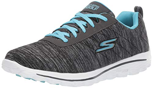 Skechers Women's Go Walk Sport Relaxed Fit Golf Shoe, Black/Blue, 7 M US