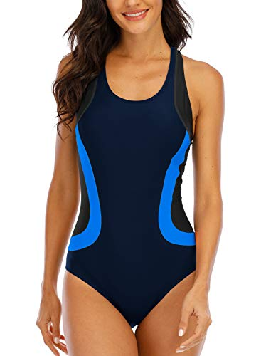 Halcurt Chorline Resistant Swimsuits Sports One Piece Swimmer Bathing Suites XXL