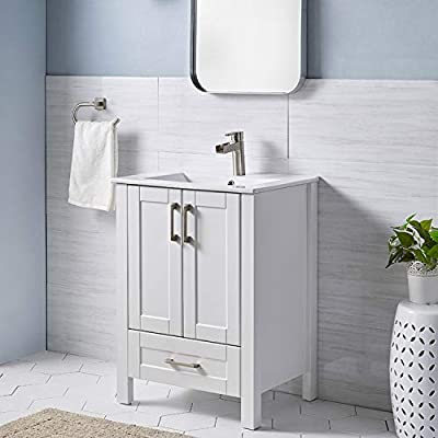 """24"""" Matte White Stand Cabinet US01 Bathroom Vanity,Bathroom Combo Cabinet with White Ceramic Vessel Sink One Drawer and Closing Doors"""