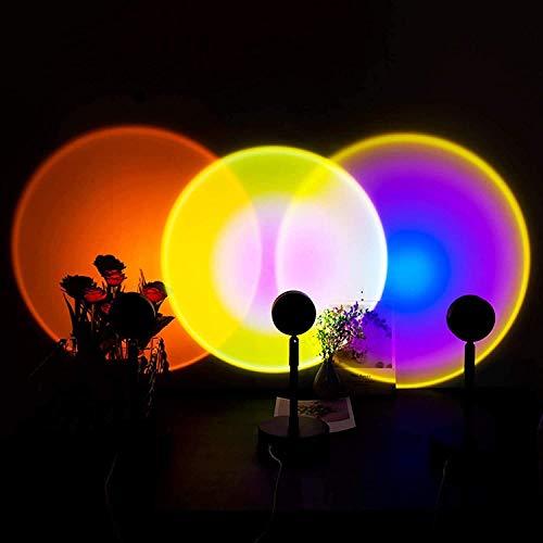 YGCBL Lámpara de proyección de la Puesta de Sol del Arco Iris, proyección de la Puesta del Sol Luz de LED, lámpara de iluminación de Piso de Humor Visual romántico (luz Solar)