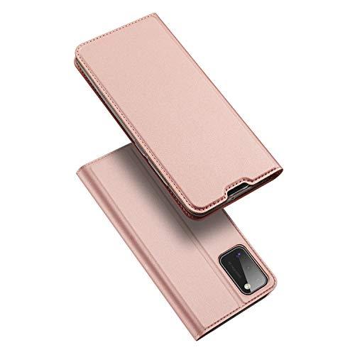 DUX DUCIS Hülle für Samsung Galaxy A41, Leder Flip Handyhülle Schutzhülle Tasche Case mit [Kartenfach] [Standfunktion] [Magnetverschluss] für Samsung Galaxy A41 (Rose Golden)