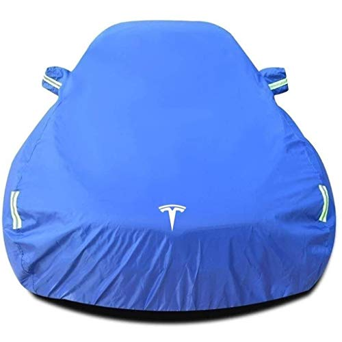 XLLH-YY Kompatibel mit Tesla Model S/Car Cover Built-in Lint verdicken wasserdichte Auto-Zelt-Plane-Mobile Auto-Bibliothek Innen- und Außen Universeller (Color : Blue)