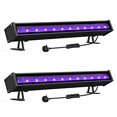 Onforu 2 Pack 24W UV Bar Light with Plug, Ultroviolet BlackLight Floodlight, 180° Adjustable LED Black Light for Dance Party, Stage Lighting, Body Paint, Photography, Fluorescent Poster, Neon Glow
