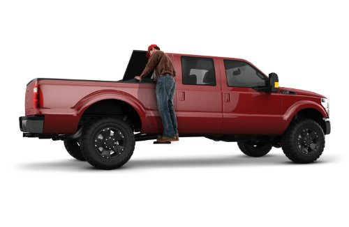 AMP Research 75403-01A BedStep2 Retractable Truck Bed Side Step for 1999-2016 Ford F-250/F-350, 2008-2016 Ford F-450/F-550, All Beds , Black , Large