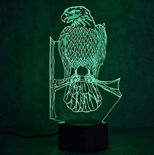 giyiohok 3D USB Night Light LED Colorful Animal Eagle Lighting Decor Table Lamp Bedside Bed Baby Sleep Lamp Gifts