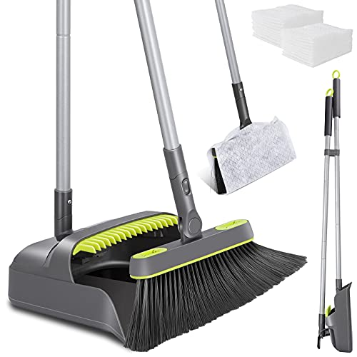 Broom and Dustpan Set, 40' Long Handle Sweeping Broom with 20PCS Non-Woven Fabrics, Upright Stand Up Dustpan Broom Combo for Home Kitchen Office Lobby Floor Cleaning