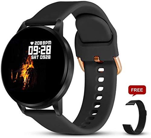 Smartwatch Damen Fitness Armband Uhr | GRATIS Metallband | Sport Bluetooth Kalorien Tracker Pulsuhr Schrittzähler Blutdruckmessung | Voll Touch Screen IP68 Wasserdicht IOS/Android (schwarz)