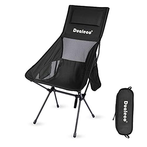 Dualeco アウトドアチェア キャンプ椅子 折りたたみ コンパクト 軽量 イス 枕付き 収納バッグ付き ハイキング お釣り 登山 耐荷重150kg (ブラック)