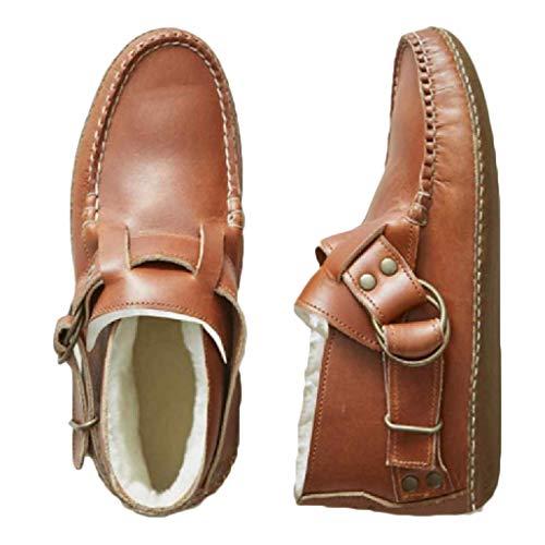 Mujeres's Botas Cortas Invierno Caliente Tacón Plano Bajo Botines Retro Hebilla De Cinturón Zapatos Ecuestres Dedo del Dedo del Dedo del Dedo Tamaño Grande Al Aire Libre Botas Bike-Marrón 36