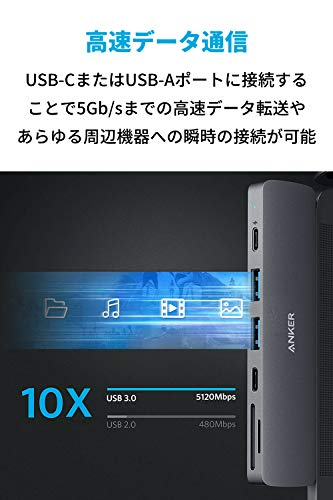 AnkerPowerExpandDirect7-in-2USB-CPDメディアハブ4K対応HDMIポート100W出力PowerDelivery対応多機能USB-CポートUSB-AポートmicroSD&SDカードスロット搭載