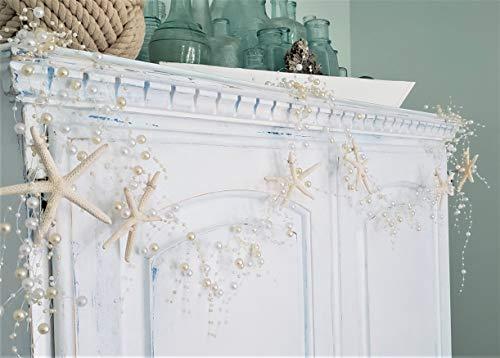 Beach Decor Nautical Beaded Starfish Garland - White Starfish Decorative Garland - 5FT PEARL
