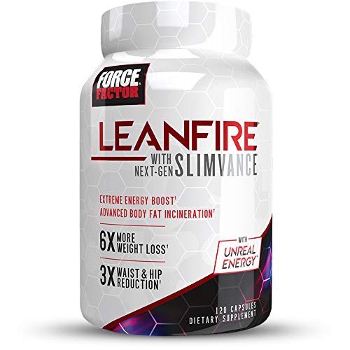 LeanFire with Next-Gen SLIMVANCE Advanced Thermogenic Fat Burner for Weight Loss with B Vitamins and Capsimax to Boost Metabolism, Increase Energy, and Enhance Focus, Force Factor, 120 Capsules