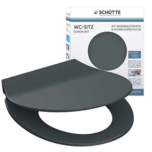 SCHÜTTE 82704 WC Sitz Slim mit Absenkautomatik, Toilettensitz mit Schnellverschluss, schlanker Toilettendeckel Klodeckel, Klobrille in Grau, Anthrazit