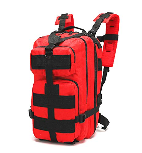 Jipemtra Tactical First Aid Bag MOLLE EMT IFAK Backpack Trauma First Aid Responder Medical Backpack Utility Bag Military Tactical Rucksack Emergency (Red)