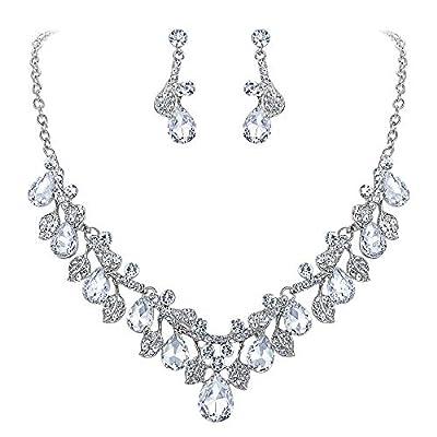 BriLove Wedding Bridal Necklace Earrings Jewelry Set for Women Crystal Enamel Teardrop Cluster Leaf Vine Statement Necklace Dangle Earrings Set Clear Silver-Tone