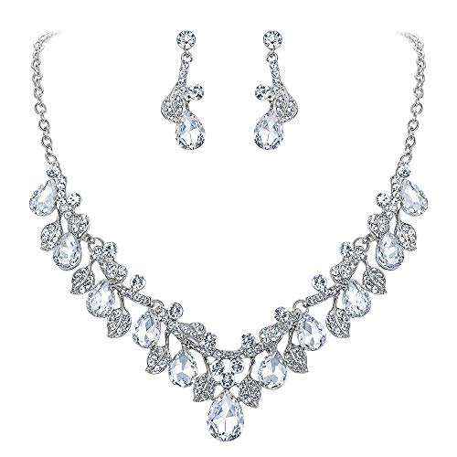 BriLove Wedding Bridal Necklace Earrings Jewelry Set for Women Crystal Enamel Teardrop Cluster Leaf Vine Statement Necklace Dangle Earrings Set Clear Silver-Tone