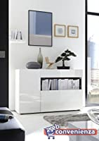 Ante nella finitura Bianco Laccato Lucido Un' anta con ripiano interno Made in Italy Dimensioni:L.130 x P.41 x H.82