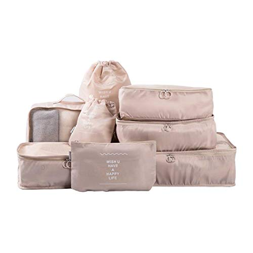 Rojeam Koffer Organizer Set 8-teilig Reisetasche in Koffer Wäschebeutel Aufbewahrungstasche Kleidertaschen Gepäck Aufbewahrung Taschen (Cremeweiß)