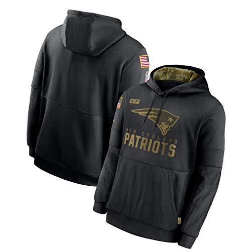 Herren American Football Hoodie, Rugby Jersey Patriots 2020 Salute to Service Sideline Performance Team Logo Pullover Sweatshirt Trainingsuniform Geschenk Gr. XXL, blau