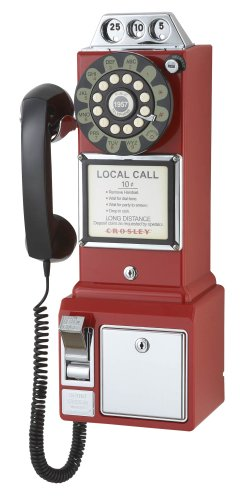 Crosley CR56-RE 1950 s Payphone with Push Button Technology, Red