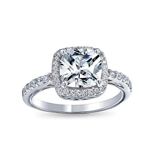 Bling Jewelry 3Ct Solitär Quadrat Kissen Geschnitten AAA Cz Zirkonia Halo Statement Verlobungsring 1Mm Dünne Pflaster Band 925 Sterling Silber