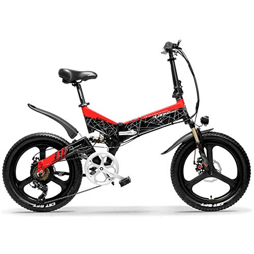 LANKELEISI G650 20 Inch Folding Electric Bike 400W 48V 14.5Ah Li-ion Battery 5 Level Pedal Assist Front & Rear Suspension (Black Red, 14.5Ah Standard)