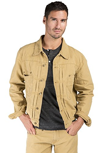 Level 7 Men's Cotton Canvas Trucker Jacket Timber Color Heavy Rugged Wash Size XL Timber