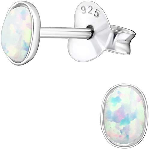 EYS JEWELRY Damen-Ohrstecker oval 925 Sterling Silber synthetischer Opal weiß 3 x 4 mm Damen-Ohrringe im Schmuck-Etui