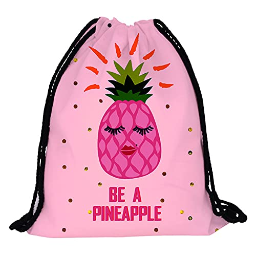 Drawstring Backpack For Women Girls Be a pineapple gifts - Pineapples Gym Drawstring Bag/Makeup Bag/Bracelet/Necklace/Stud Earrings/Hair Ties/Keychain