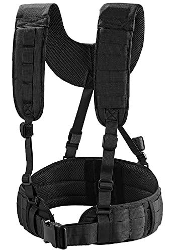 Battle Belt with Suspender Straps - OneTigris Tactical MOLLE Belt Padded Patrol Airsoft Combat Belt with Outdoor H-Harness Duty Belt Suspenders