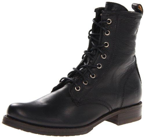 FRYE Women's Veronica Combat Boot, Black Soft Vintage Leather, 7.5
