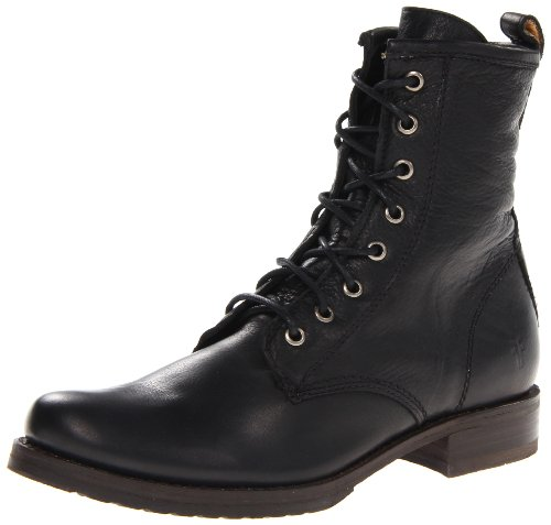 FRYE Women's Veronica Combat Boot, Black Soft Vintage Leather, 7