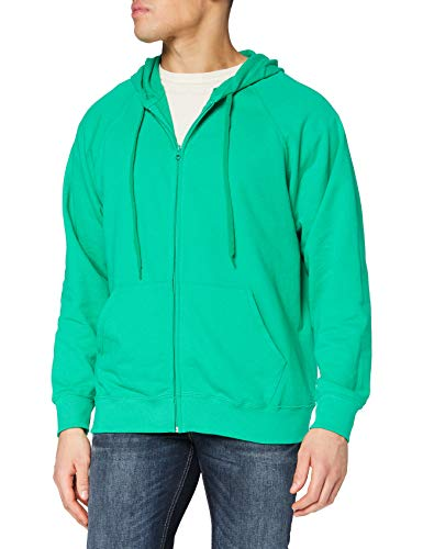 Fruit of the Loom Zip Front Lightweight Felpa con Cappuccio, Verde (Kelly Green), M Uomo