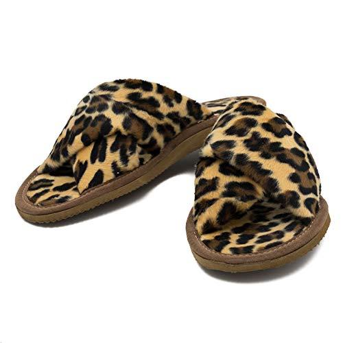 MatiMax Damenhausschuhe Frauenhausschuhe Flacheschuhe Panther Plüsch (Panther (beige, braun, schwarz), Numeric_40)
