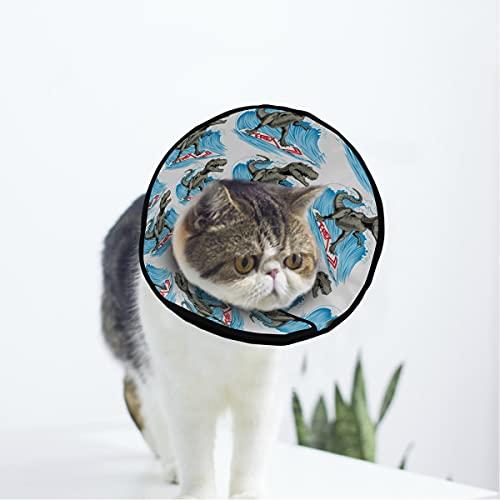 MCHIVER Dinosaurio Surfer Wave Soft Cat Dog Recuperación Collar ajustable Cat Cone Wound Healing Protector después de la cirugía para gato y cachorro