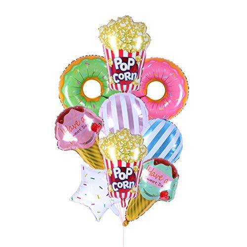 Toyvian Globos de aluminio, 9 unidades, con forma de donut de helado, estrellas, caramelos, helado, globos de látex para baby shower, cumpleaños, decoración para fiestas