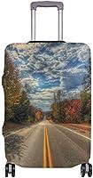 繊細な印刷では秋の道木スーツケースプロテクター弾性旅行荷物カバー防雨手荷物カバー