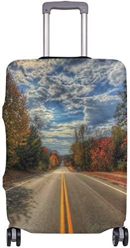 Cubiertas de Equipaje otoño Camino árboles Maleta Protector elástico del Equipaje del Viaje Funda Impermeable con la impresión en Delicado