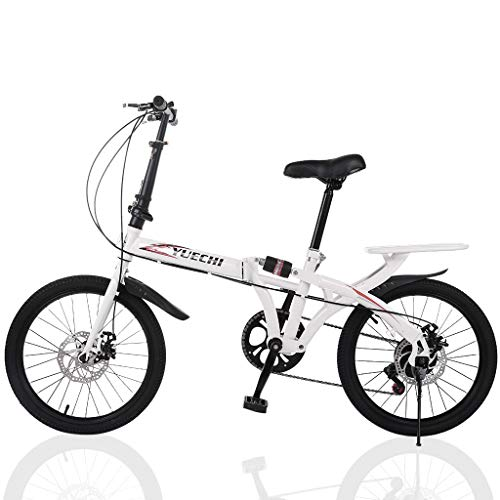 20-inch Folding Bike, 7-Speed Cycling Commuter Foldable Bicycle for Adult Student,Lightweight Aluminum Frame Foldable Adult Bicycle for Outdoor Sports (from US, White)