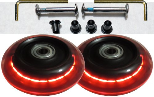 Camelian Luggage Lighted Wheel Set - Red Color Lights - 76x24mm Wheel Size