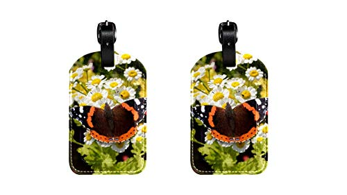 Schmetterling 015 Kofferanhänger Koffer Leder Gepäckanhänger 2 Stück Namensschild Adresse Tag Flugzeug Gepäckanhänger Visitenkartenhalter Kartenpaket 7x11.4cm