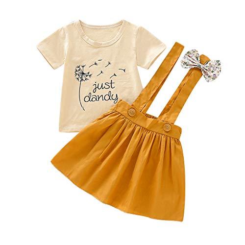 ZEFOTIM Infant Kids Baby Girls Print Letter T-Shirt Tee Tops+Straps Skirt Outfits Set
