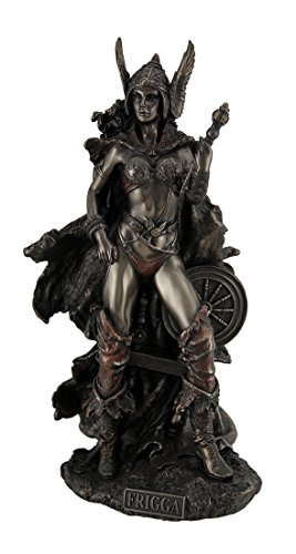 Zeckos Resin Statues Frigga Norse Goddess of Love Marriage and Destiny Standing Near Spindle Statue 5.5 X 10 X 4 Inches Bronze Model # WU75526A4
