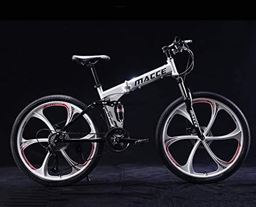 N&I Bicicleta de montaña de 26 pulgadas, para adultos, de acero al carbono, suspensión completa, con doble disco, freno off-road, color blanco, 24 velocidades, rojo y 21 velocidades