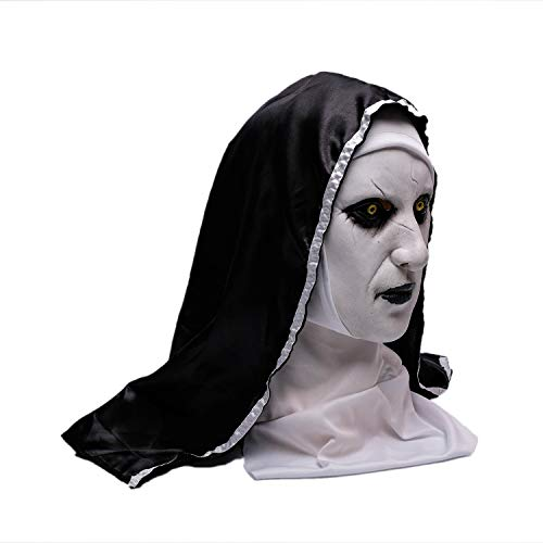 Wellin The Nun Scary Latex Mask, Halloween Party Scary, White, Size No Size