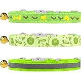 TagME 3er Pack Schnellverschluss Katzenhalsband Gemischtem Muster mit Glocke und Sicherheitsverschluss,Verstellbar 18-25cm, Grün