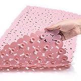 TEESHLY Bath Tub and Shower Mats, Non-Slip Pebble Bath Mat, 35 x 16 Inches Machine Washable Bathtub Mat with Drain Holes, Suction Cups for Bathroom (Pink)