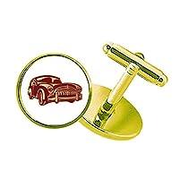 ディープレッドクラシックカーのパターンのシルエット スタッズビジネスシャツメタルカフリンクスゴールド