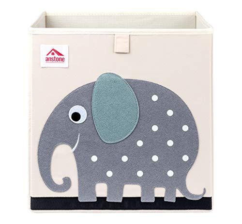 Anstore Aufbewahrungsbox Kinder 33x33x33cm, Spielzeugkiste für Kinderzimmer, Cartoon Faltbar Aufbewahrungswürfel, Korb zur Aufbewahrung von Kinder Spielsachen(Elefant)
